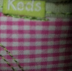 Keds Shoes - {Keds} pink check sneakers w/ green pops, sz 8.5